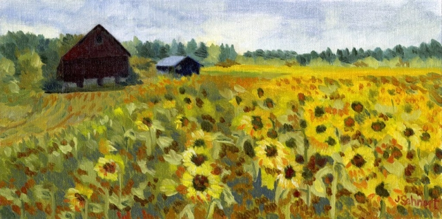 "Barn with Sunflowers - 8"" x 16""- Oil on Board - SOLD"