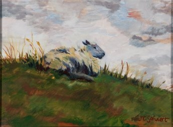 "A Little Irish Sheep - 9"" x 12"" - Oil on Board"