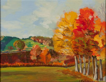 "Fall Scene - 11"" x 14"" - Oil on Board"