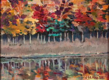 "Fall Reflections - 9"" x 12"" - Oil on Board"