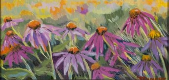"Cone Flowers - 6"" x 12"" - Oil on Board"