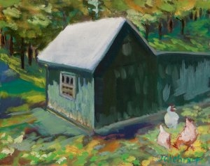 "Chicken House - 8"" x 10"" - Oil on Board"