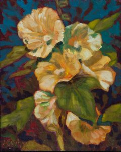 "Hollyhocks - 8"" x 10"" - Oil on Board"