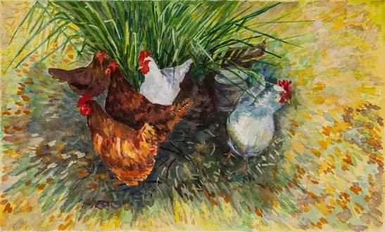 "Chickens in the Shade - Arches Paper - 25"" x 19"""