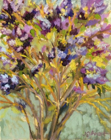 "Lilac Bush - 8"" x 10"" - Oil on Board"