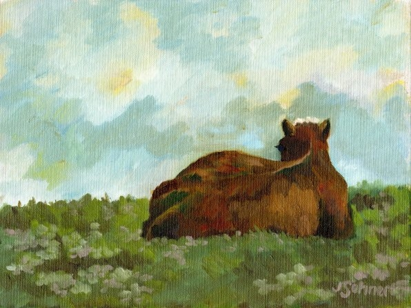 "Irish Cow - 9"" x 12"" - Oil on Board"