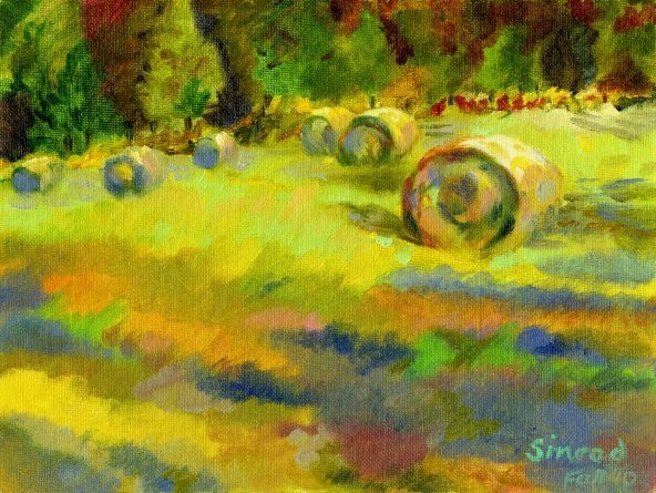 "Hay Bales on Fire - 9"" X 12"" - Oil on Board"
