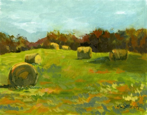 "Puellman Road Bales - 11"" x 14"" - Oil on Board"